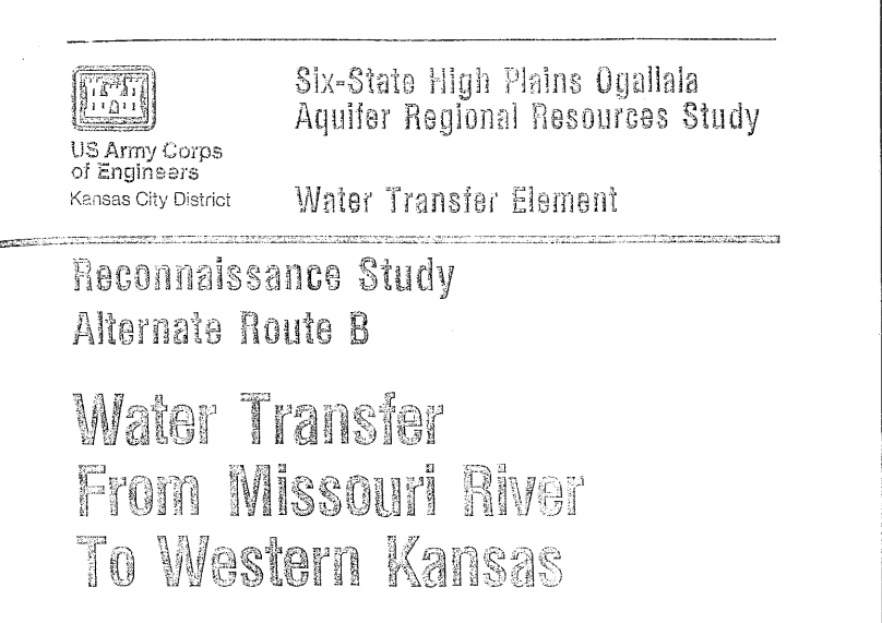 1982 High Plains Study on Water Transfer Element